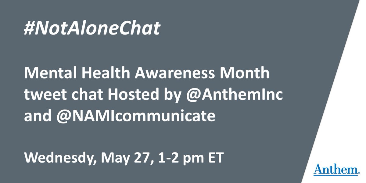 Mark your calendars and join us next Wednesday at 1pm ET for a #MentalHealthMonth twitter chat on #NotAloneChat with @NAMICommunicate. #COVID19 is a mental health crisis, as well as a physical one. #NotAlone