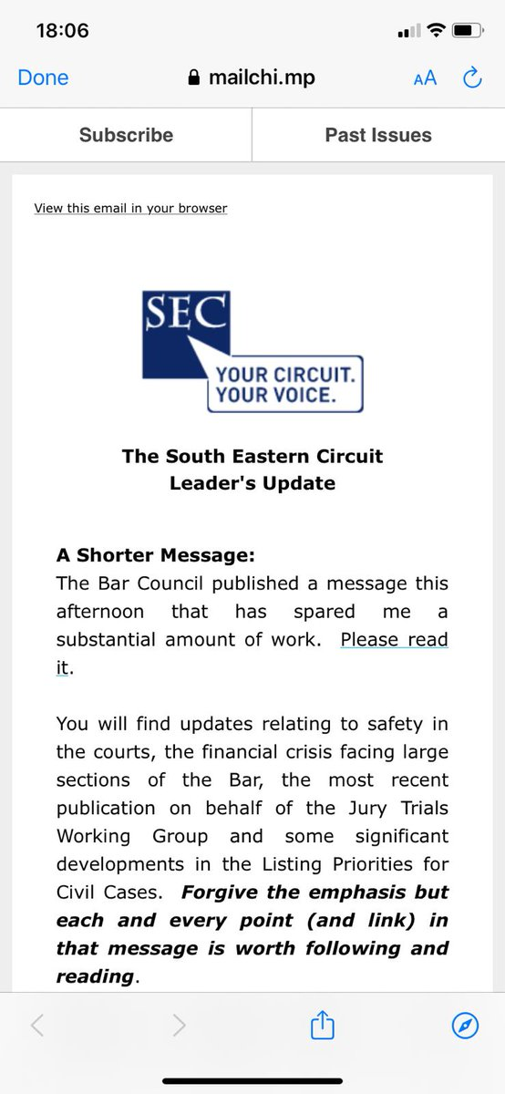 Newly confirmed Vice Chair-Elect of the Bar: The Bar Council published a message this afternoon that has spared me a substantial amount of work.Please read it. Mark Fenhalls QC, Leader of @SECircuit. Thanks Mark, see you in 2022. Read his update: mailchi.mp/southeastcircu…