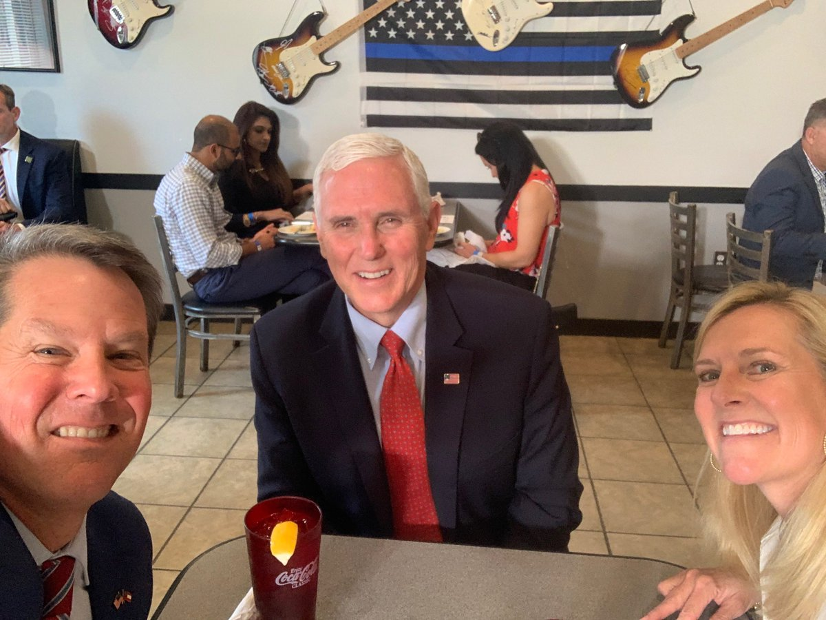 Great lunch with @VP at Star Cafe! Appreciate his and @POTUS leadership and support as we continue safely reopening Georgia! https://t.co/TEjNIq4873