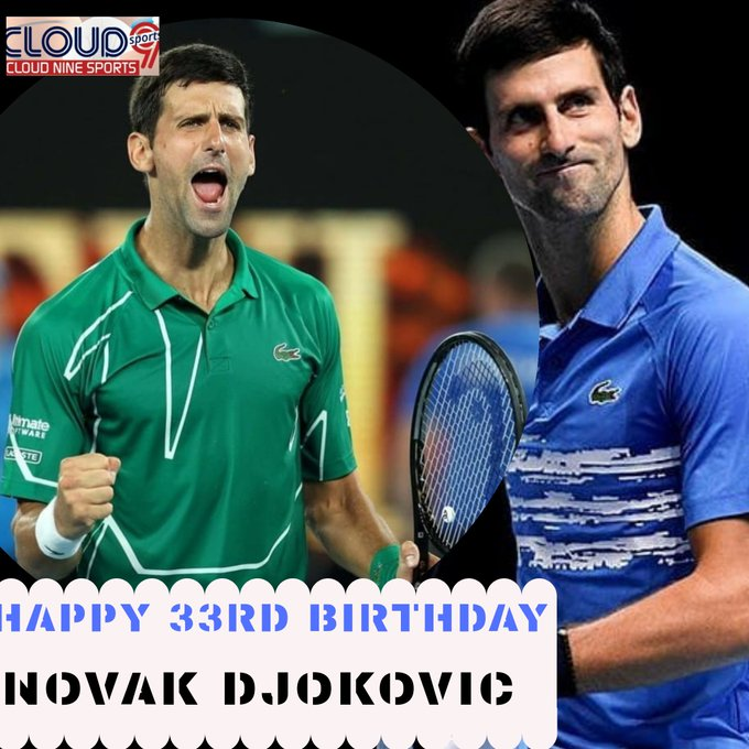 "Happy 33rd Birthday to Serbian champion and current World No.1 \""Novak Djokovic\"""