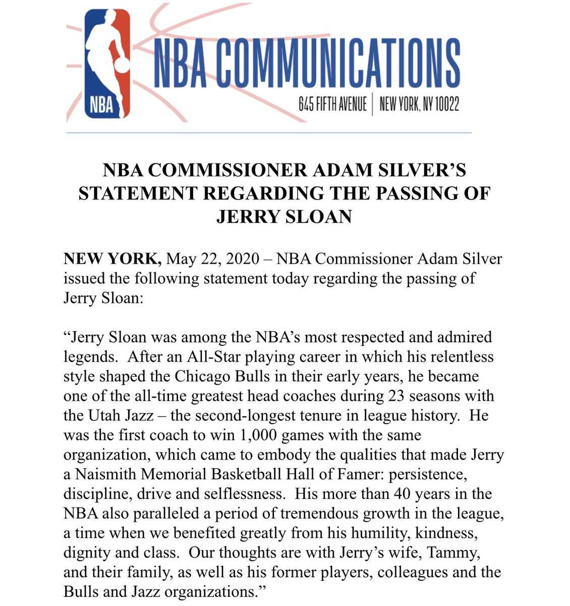 NBA Commissioner Adam Silver issued the following statement today regarding the passing of Jerry Sloan https://t.co/9E8xtx72Rg
