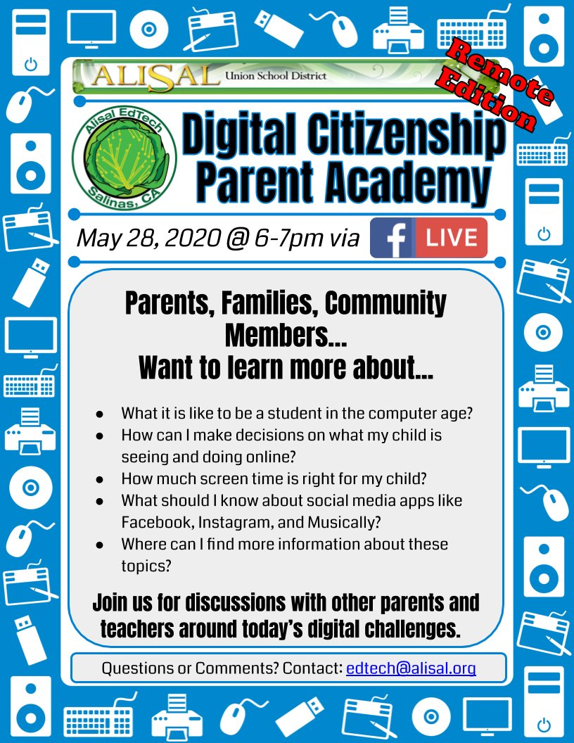 We will be facilitating a Digital Citizenship Parent Academy that is open to our families, community, and world. Using @CommonSenseEd resources to spotlight the important topic of Digital Citizenship. #AlisalStrong #AlisalFuerte bit.ly/DigCitAlisal remoteinstruction.org