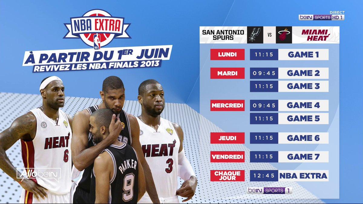 🔥 A partir du 1er juin, revivez les #NBA Finals 2013 entre les Spurs et le Heat tous les jours sur beIN SPORTS 1 ! https://t.co/hxAjN59NE6