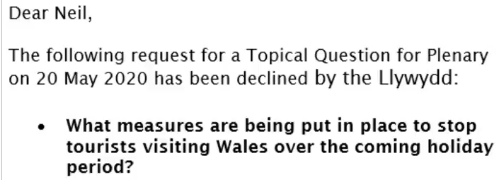 @Plaid_Cymru presiding officer @ElinCeredigion decides that a question about tourists coming into Wales this Bank Holiday weekend is not a pressing matter - because the question came from @neiljmcevoy