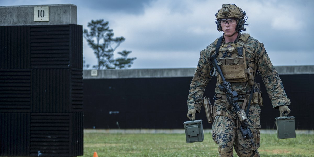 Honest Work A Force Reconnaissance Marine with the @31stMeu carries ammo cans during a close-quarters tactics range on Camp Hansen, Okinawa. The MEU provides a flexible, lethal and ready force in the Indo-Pacific region.
