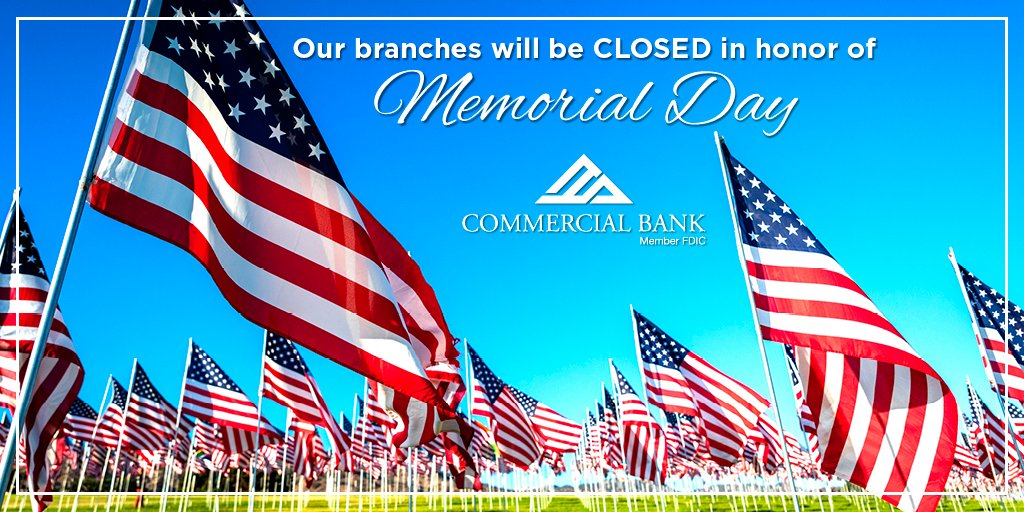 Have a safe and happy Memorial Day weekend! We will be closed on Monday, but online banking, mobile banking, and Dial-A-Bank will still be available for account access. Learn more about how you to bank from anywhere, any time at https://t.co/bqXDxTs18q  #LifeMadeBetter https://t.co/WRvA331ddk