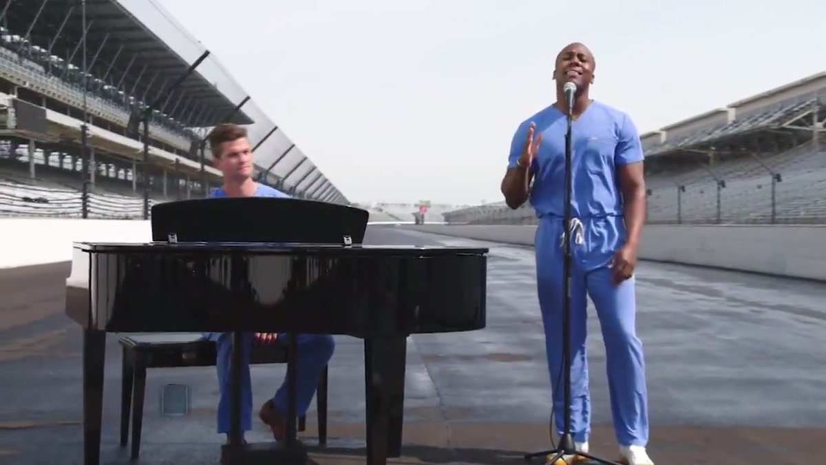 To our heroes on the frontlines, thank you. It was an honor to have Dr. Elvis Francois and Dr. William Robinson from @MayoClinic perform God Bless America during the #Indy500 Special: Back Home Again on @nbc. #500atHome | @IndyCar