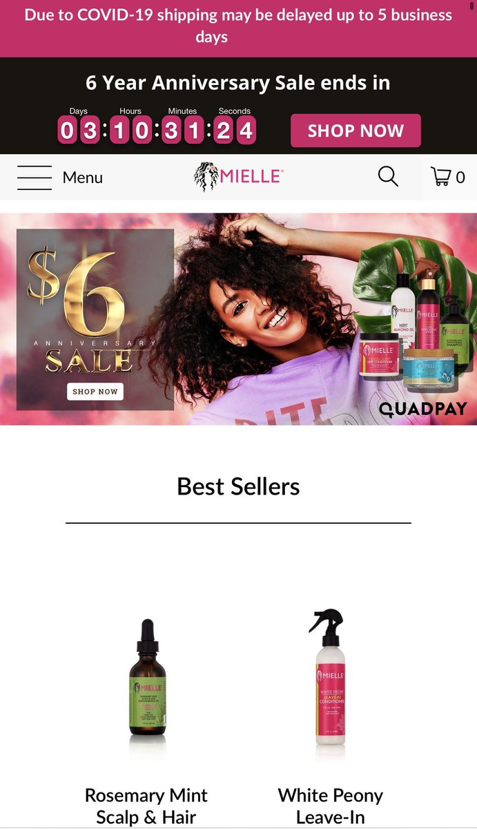 NATURAL SISTERS  LADIES!!! Mielle is having their 6 year anniversary sale and everything on the site is only $6 for the next 3 days.  Everything is going out of stock.. HURRY!!! <br>http://pic.twitter.com/KdcdPTwJwu