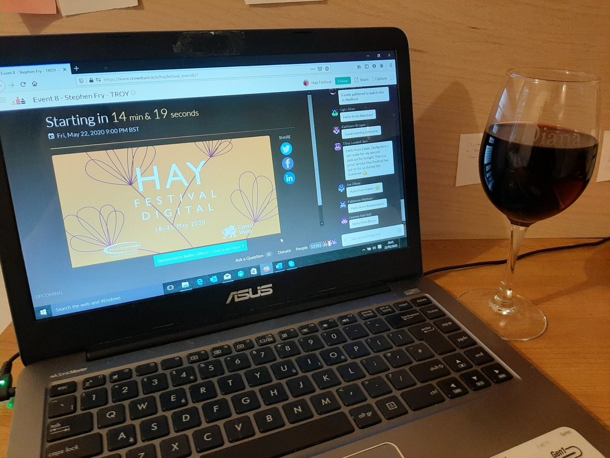 test ツイッターメディア - I was meant to be heading to the @hayfestival with my Mum for half term. We're both watching the digital events though, albeit in different households, and I have a very nice glass of red to go with it! Excited! https://t.co/IATIcWxpu9
