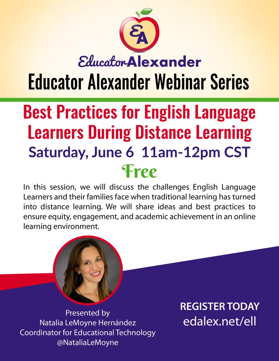 Best Practices for English Language Learners During Distance Learning  Free Webinar  Saturday, June 6  11am-12pm cst  Register:  http:// edalex.net/ell      #education #teaching #classroom #ESL #TESOL #TEFL #EFL #ELT #duallang #ELLs #ELL #ISTE #TCEA #FETC #CUE #LACUE #OVAcademy<br>http://pic.twitter.com/JOTWSebqMq
