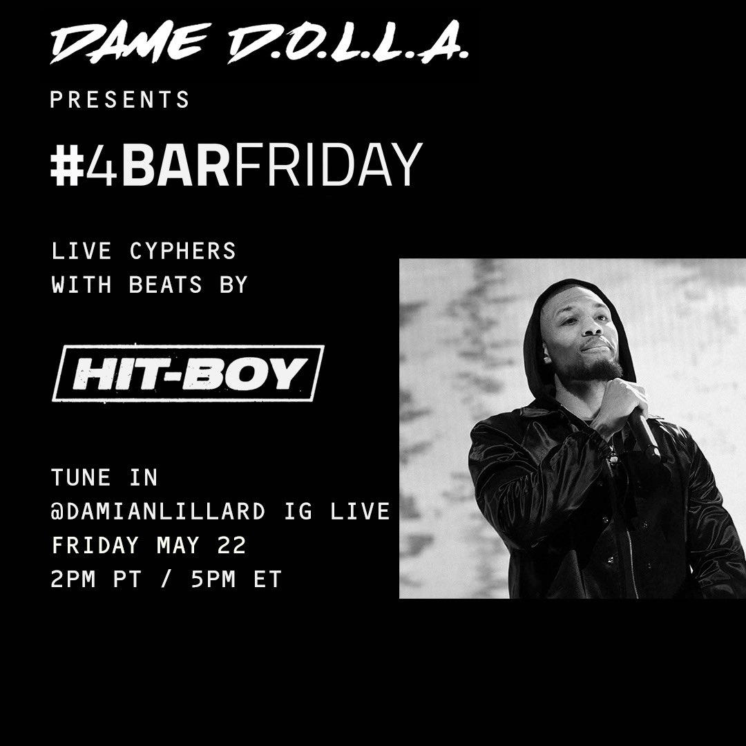 Bringing back my IG Live Cypher Series today at 2pm PT/5pm ET. 8 new MCs battling it out over beats provided by @Hit_Boy! Tap in on my IG live then. Instagram.com/damianlillard