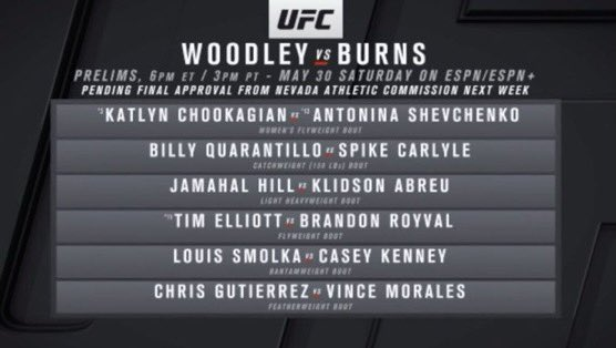 Cartelera para el próximo sábado #UFCFightNight Woodley vs Burns. #OjoAlDato #MMA #UFC https://t.co/AUV21BBLgr