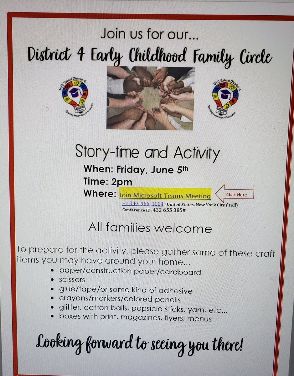 District 4 Early Childhood Family Circle Session#2 SEE FLYER FOR DETAILS! @ps155D4 @PSMS206M @PS38RCLC @RSAMS377 @TAGPTA @schoolofauthors @PS96ACT @PS83D4 @LexingtonAcade3 @MosaicPrep @aestrel3 @CSD_4 @pretto_david https://t.co/af9eBT6P5s