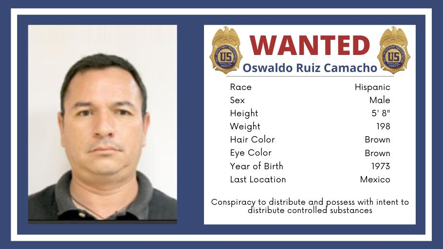 #FugitiveFriday Have you seen him? @DEALOSANGELES is searching for Oswaldo Ruiz Camacho. Wanted for conspiracy to distribute controlled substances. Call the @USMarshalsHQ at 1-877-926-8332 or email the tip line usms.wanted@usdoj.gov dea.gov/fugitives/oswa…