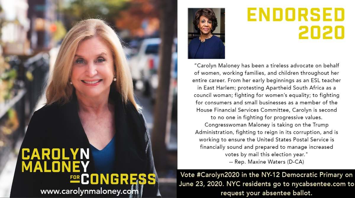 I am deeply, profoundly honored by this endorsement from my friend and colleague, @MaxineWaters. Our work to protect consumers & hold government accountable has been incredibly meaningful. Maxine, I am so proud to have your support. #Carolyn2020