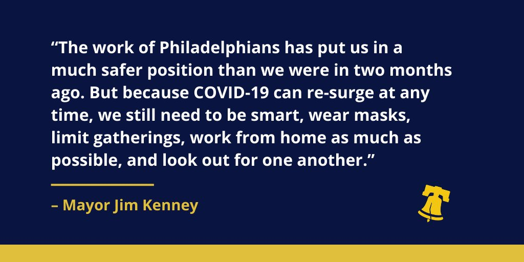 This afternoon, @GovernorTomWolf announced that Philadelphia will enter the yellow phase on June 5. Next week, we will share more information about how we will begin to safely and gradually reopen. Read my full statement: bit.ly/36kYP6a