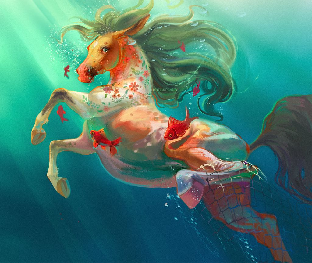 """A green mane compliments the floral pattern that cascades down the neck of this aquatic equine.     """"Under the water"""" by Tibet-Lama: https://bit.ly/2WSaciG  #Seahorse #MerMay #Underwater pic.twitter.com/gWvhEEYJtH"""