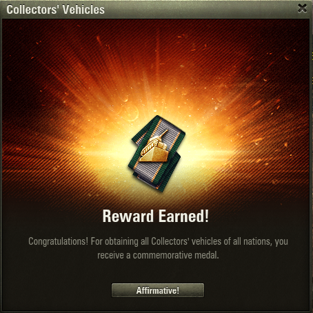 vehicle collector medal obtained