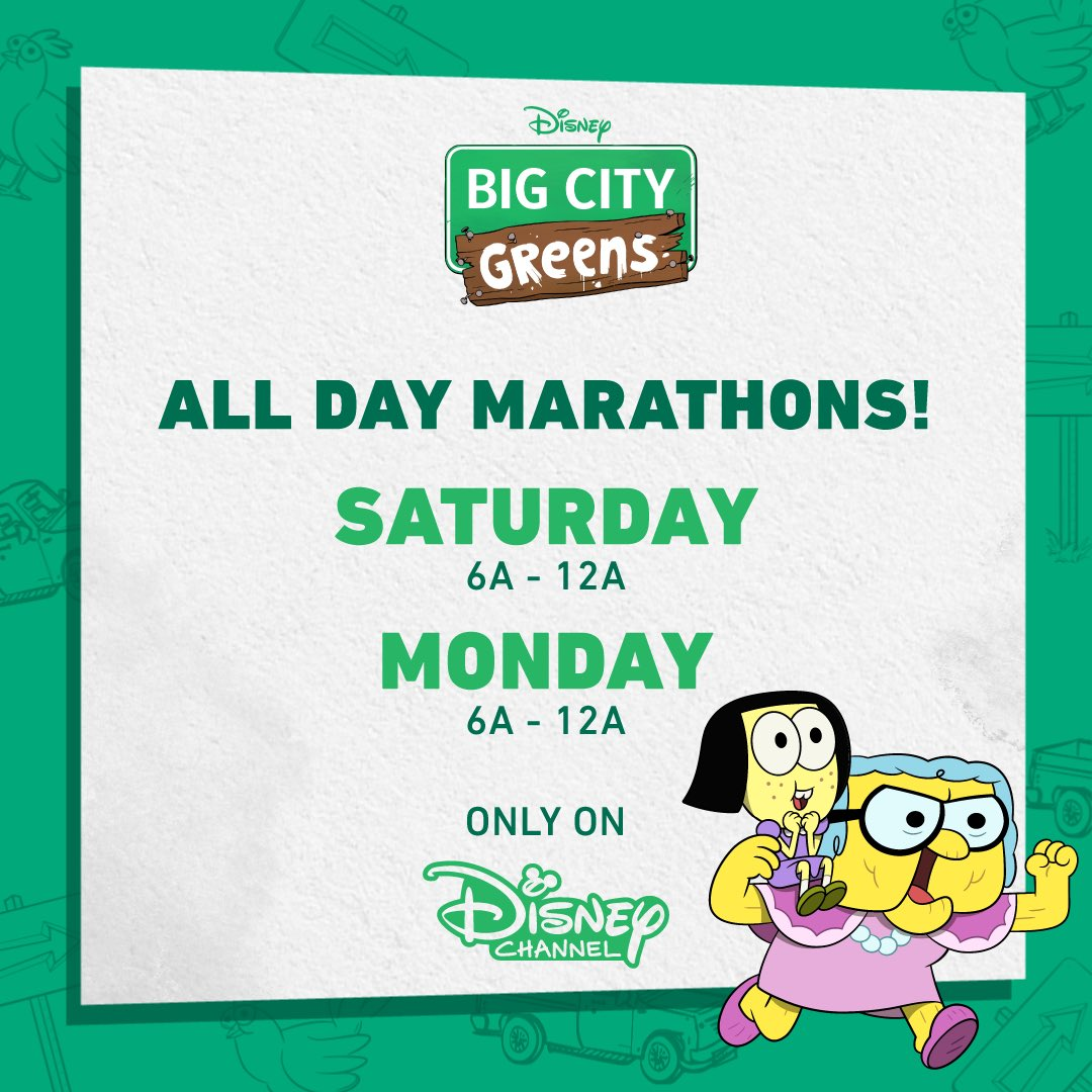 What's happening, you ask? Marathons of #BigCityGreens on @DisneyChannel all day Saturday and Monday, that's what's happening!
