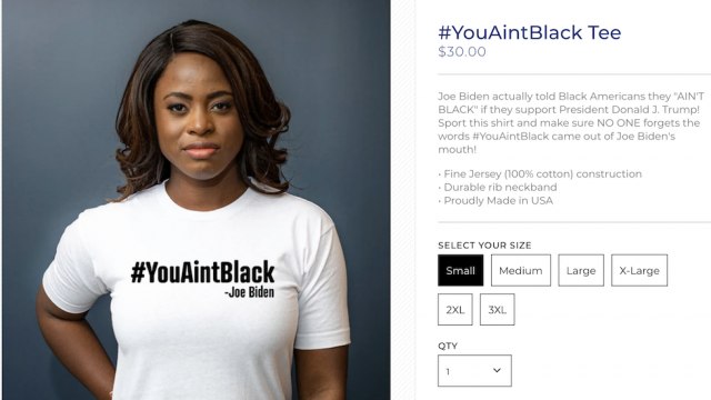 "Trump campaign selling ""you ain't black"" shirts after Biden comment https://t.co/V8dKIRB3eZ https://t.co/bFX7Y8G133"