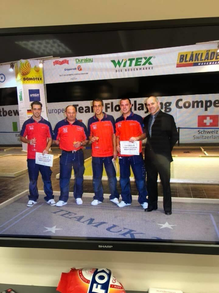 The 2007 UK team in the European floorlaying competition in Hanover Germany with Matthew Bourne Steve Sidney and chris poser with Team coach Steve Ramsden. @thenicf