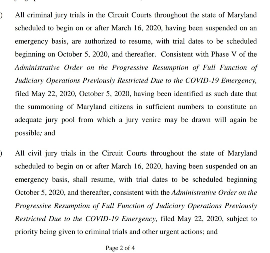New order from Maryland Judiciary says civil and criminal jury trials won't resume until October 5th