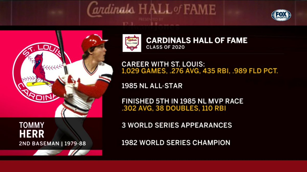 Cardinal Nation has spoken — Tommy Herr will don the red jacket as he joins the #CardsHOF class of 2020.