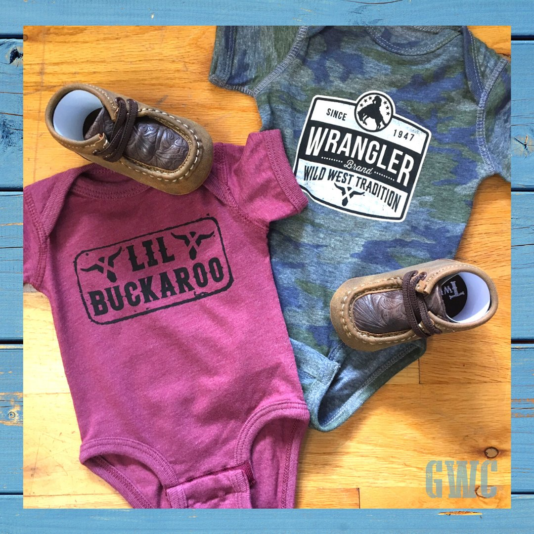Cute new onsies for your lil' buckaroo. . . . . #wrangler #westernfashion #westernstyle #rodeo #baby #toddler #shopsmall #shoplocalhumboldt #cowbaby #GreatWesternClothing #bigbootonbroadwaypic.twitter.com/zA5jFVmFJm