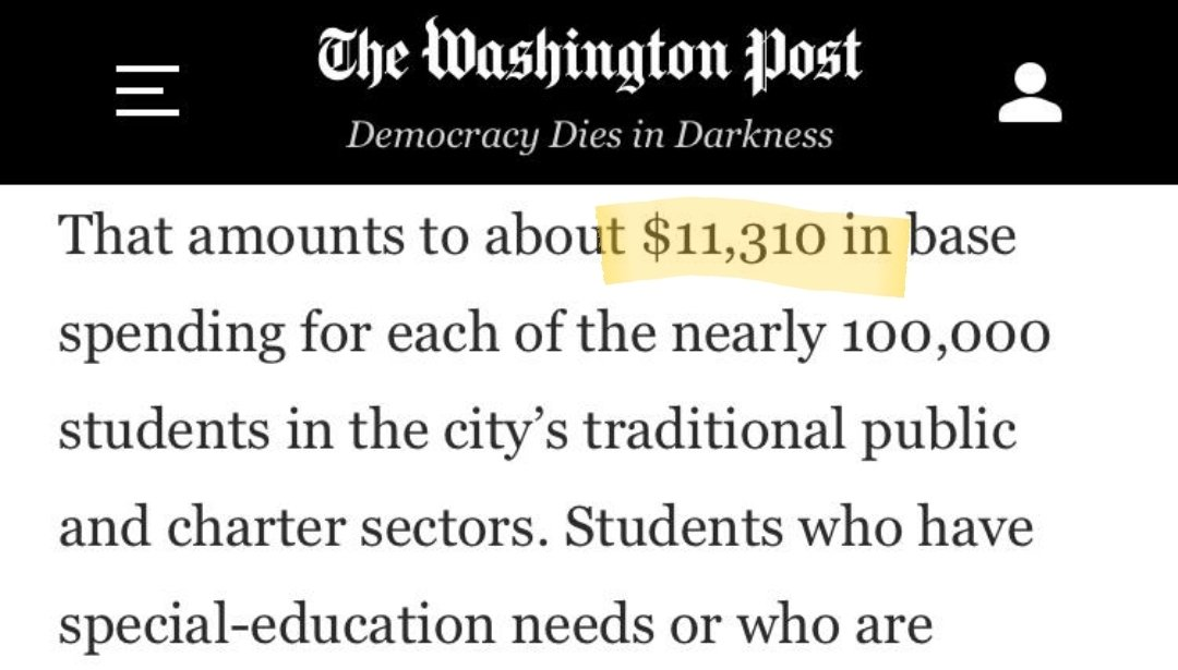 """Washington Post just said schools in D.C. cost """"$11,310 in base spending"""" per student.  D.C. actually spends $30,115 per student.  Why didn't Washington Post report that number?🤔 https://t.co/gO6FRsoc1x"""