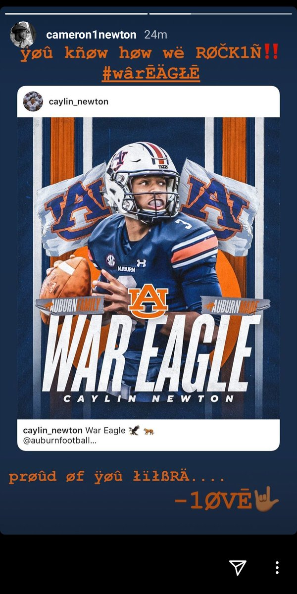Cam Newton reacts to his younger brother, Caylin, committing to Auburn as a grad transfer. <br>http://pic.twitter.com/yfL1JigT64