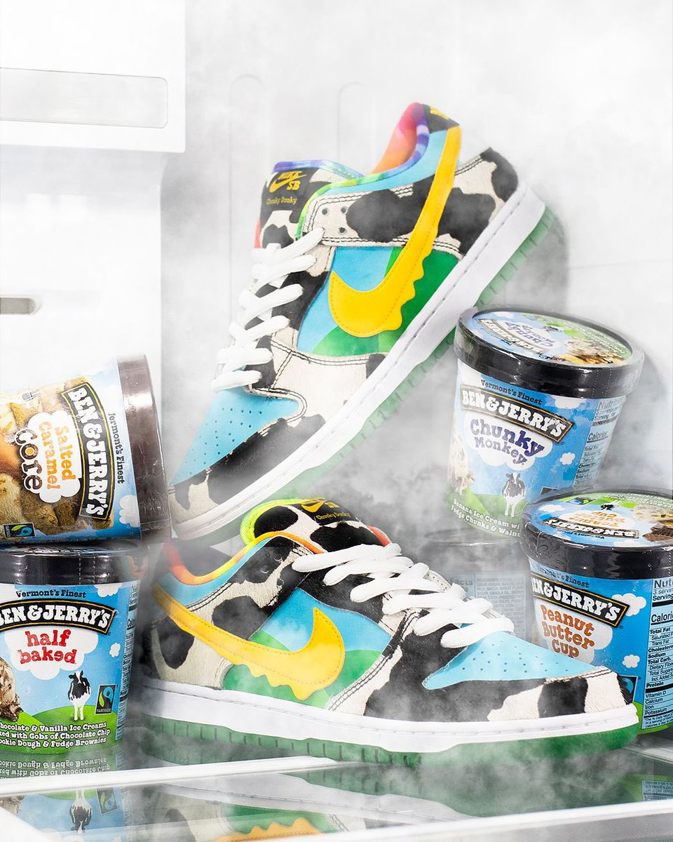 Here's a chance to purchase the Ben & Jerry's x Nike Dunk SB. To enter:  1) Must follow @ExtraButter 2) Reply to this tweet with your favorite Ben & Jerry's flavor and tag a friend.  Winners will be contacted tomorrow by 12pm EST. Head to Instagram for another chance to enter. https://t.co/1WrQN0sNjJ