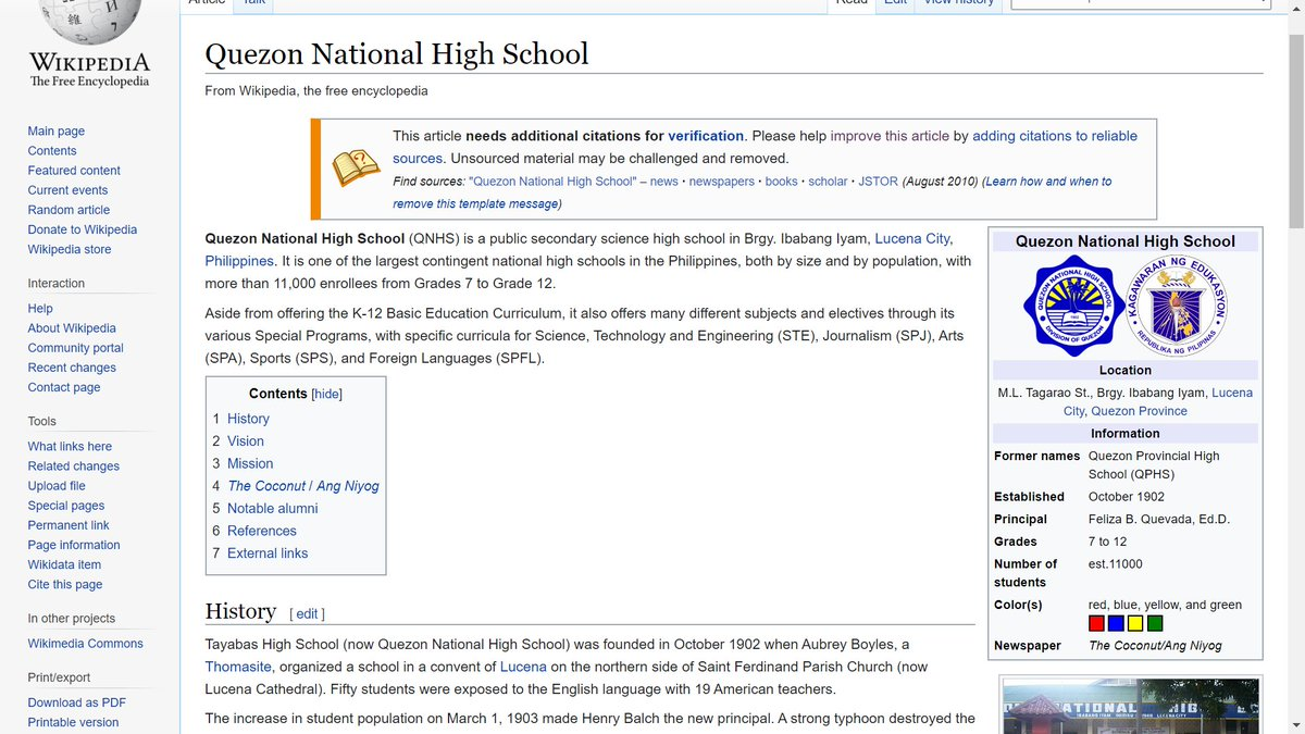 So I edited the QNHS Wikipedia page and placed an infobox on the right. HAHAHAHHA #Bored pic.twitter.com/OjLlz1G0tB