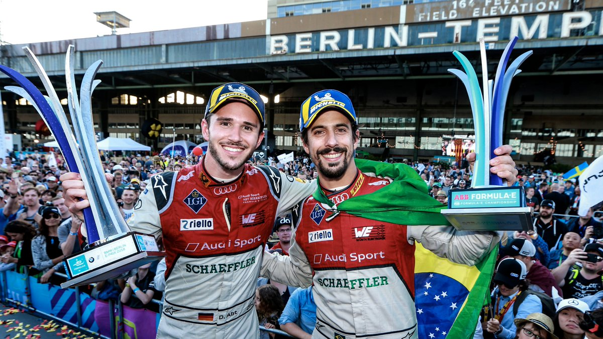 The @FIAFormulaE #BerlinEPrix brings back special memories for us: Victories for @Daniel_Abt and @LucasdiGrassi in 2018 and 2019.   >> https://t.co/ktQ0jleme7   #PerformanceIsAnAttitude #ABBFormulaE #FormulaE #RaceAtHome #etron #ProgressFeelsElectric #AudiTogether https://t.co/8wYnaIGWxG