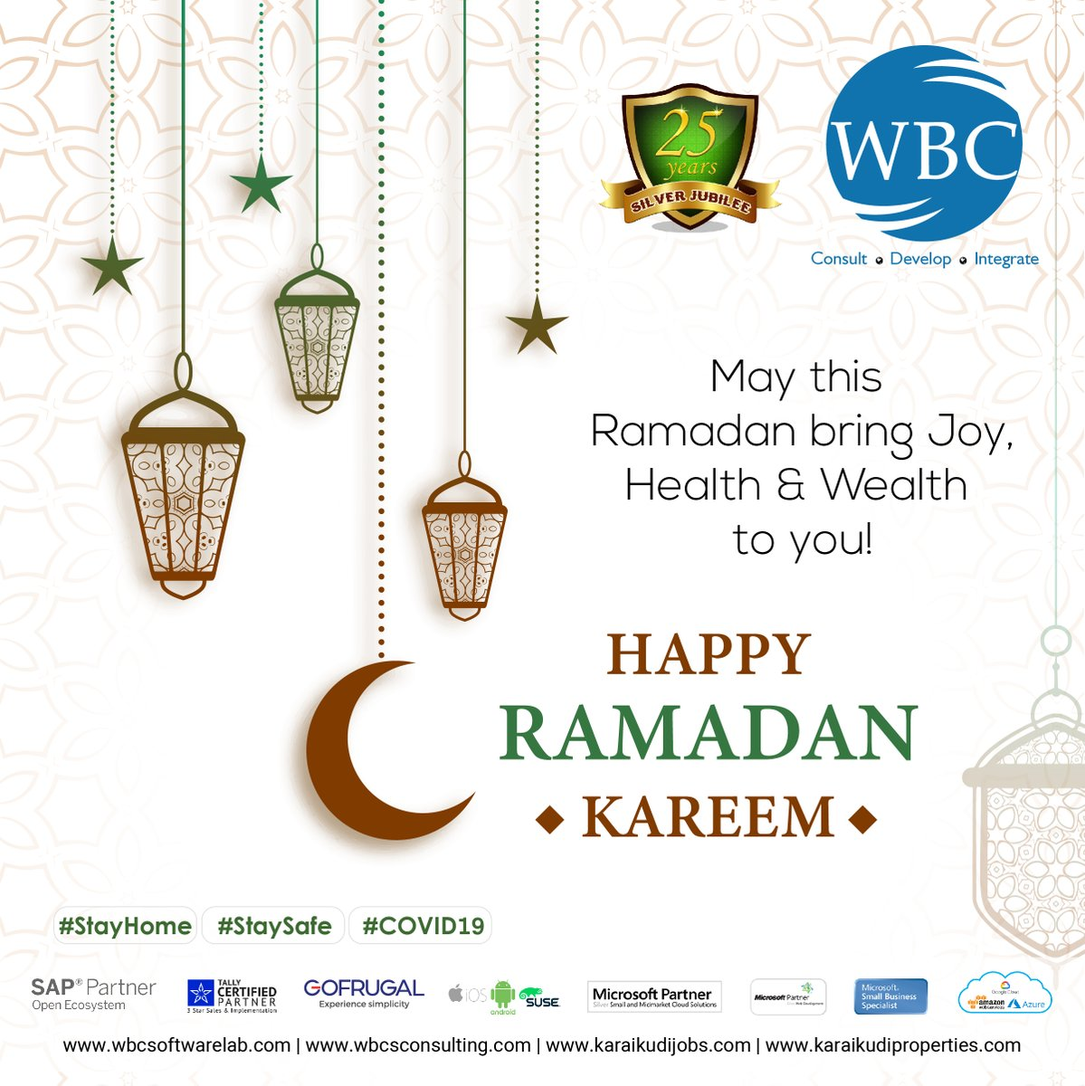 Dear all, WBC_Software_Lab Wishing you a Happy Ramadan 2020!!! May this #Ramadan be as #bright as ever. #Ramadan bring joy, #health and #wealth to all of you.  Visit website: https://www.wbcsoftwarelab.com , https://www.wbcsconsulting.com pic.twitter.com/RumS9I2zB9