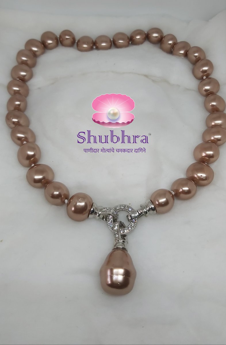 Natural color shell pearls single line Perfect match for Western and Indo-western outfit  Visit us at Supriya Collections, Vakola, Santacruz or call us:+91 98205 23136     #handmadejewellery #jewellerydesigner #jewellery #fashion #necklace #handmade #pearls