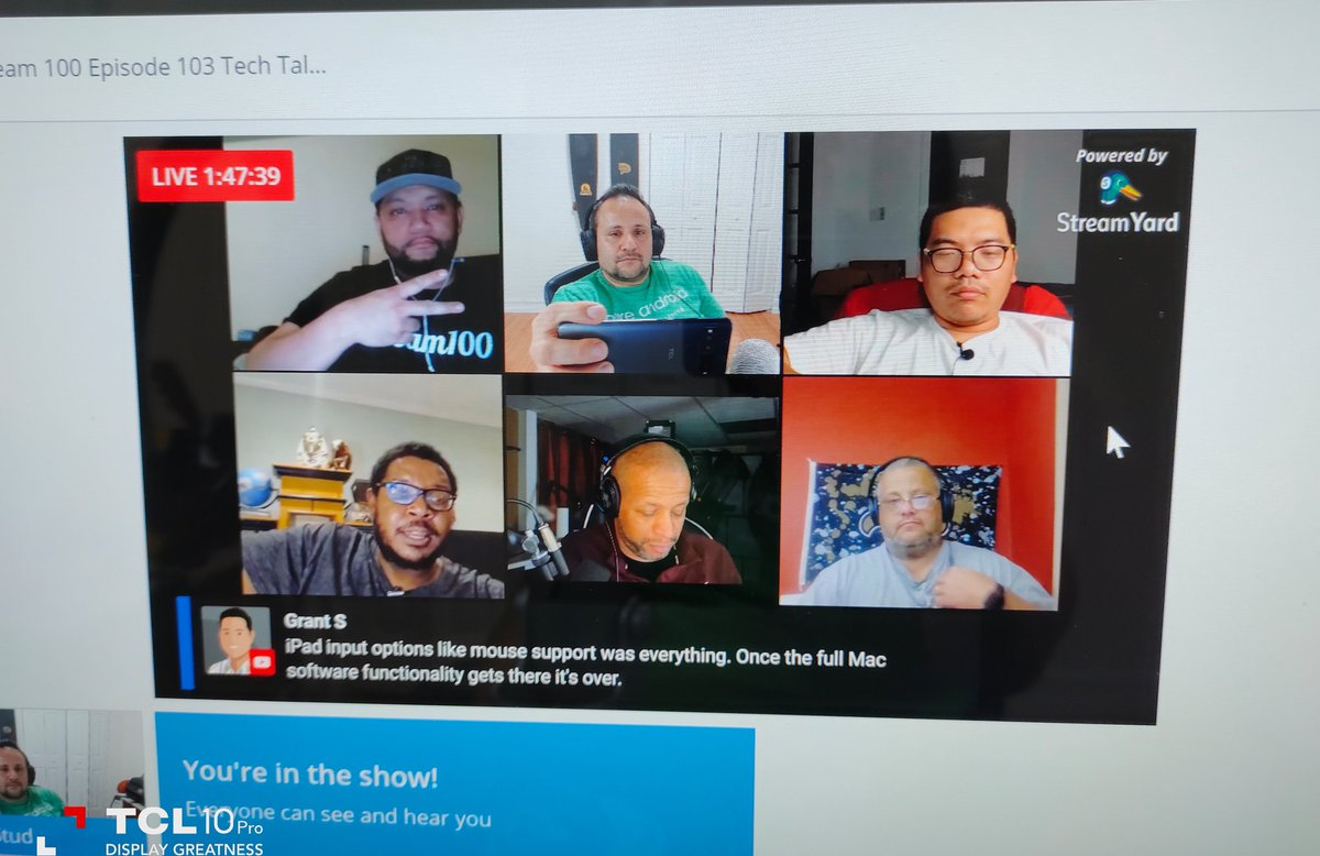 Great time on the live stream with my #team100 brothers @PhoneTechAtWork @ForbesReviews @RP3_Tech @BG_TechLife @the_techgent @HarmlessKarl @LuxTekTravel  #TCL10Pro @TCL_USA @TCLMobileGlobal pic.twitter.com/WJfYoe9S9l