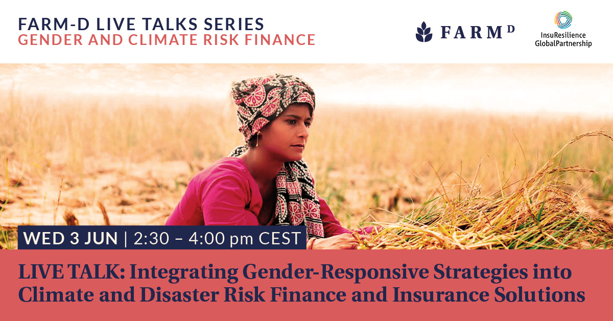 Join us in shaping a #global agenda for gender-responsive climate risk finance and insurance!  Participate in an interactive #dialogue on 3 June, 14:30–16:00.  Find out more http://ow.ly/IZEj50zLG2n and register here: http://ow.ly/HCqT50zLG2m  @yourFARMD @IFADpic.twitter.com/JXCrhQyllf