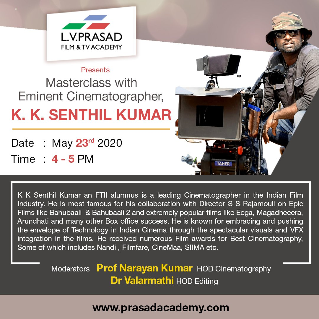 Looking forward for this Interactive Session.  #LVPrasad Film & TV Academy. on May 23rd 4 PM to 5PM. #Cinematography #filmmaking https://t.co/txs0GYOgri