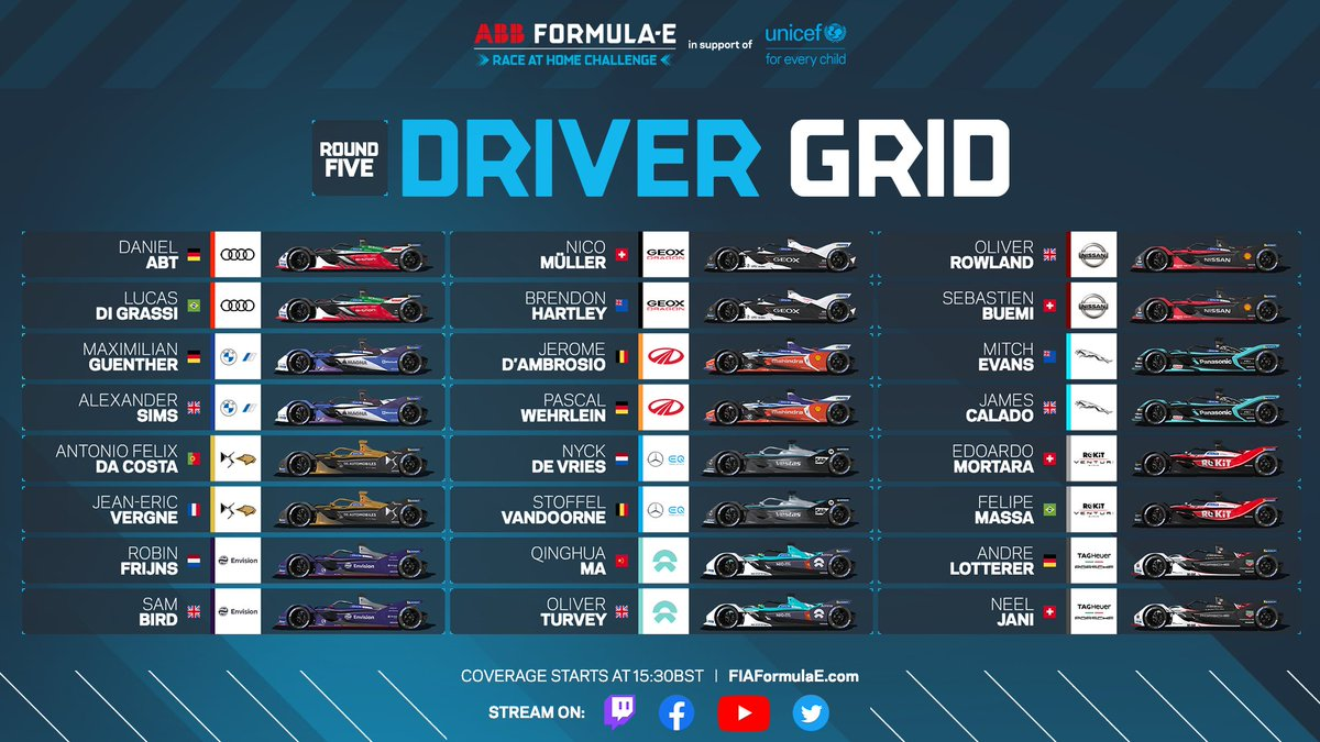 Every Formula E driver in action in the Driver Grid ✅  A hugely competitive Challenge Grid ✅  Two amazing races to watch later ✅ #RaceAtHome https://t.co/AtmPQtdlgu