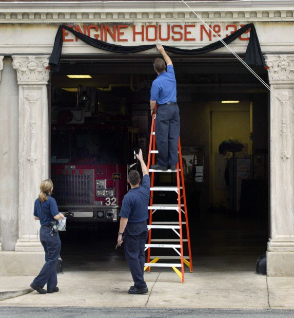 Chris was killed on 4 Sept 2006 in a roadside bombing. Black bunting adorned @STLFireDept fire houses & flags across #STL were lowered to half-staff. At my house, E24, my Captain (a retired Navy man) assembled off going & oncoming shifts for a short remembrance.