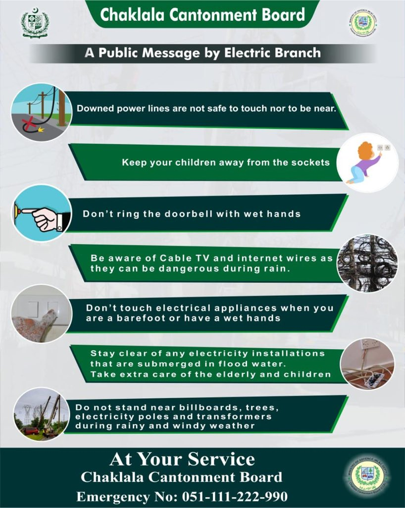 :: Public Message by Electric Branch ::  Please take precautionary measures and educate others as well  #CBCARE #CCB #Chaklala #Rawalpindi #Rawalpindians #Electricpic.twitter.com/TPcY3y0MGG