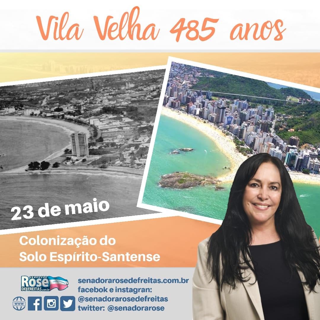 | PARABÉNS, VILA VELHA |   A história do nosso estado começou em #VilaVelha. Em 23/maio/1535, o português Vasco Fernandes Coutinho, donatário da Capitania do #EspiritoSanto, fundou o município que hoje completa 485 anos.  Quer saber mais?   https://cidades.ibge.gov.br/brasil/es/vila-velha/historico….pic.twitter.com/ePggcdK8Br