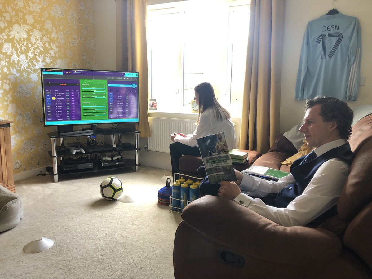 @FootballManager Lily has got well into #FMTouch 2020 & has gone all out for #FMCupFinalDay. Our lounge looks like a dressing room. Let's hope she sweeps up after... https://t.co/lDzaJ6jN1x