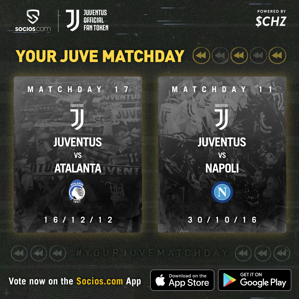 The FINAL #YourJuveMatchday is here! ⚪️⚫️  🤔 What will be your selection, Bianconeri: #JuveAtalanta or #JuveNapoli?  🗳 Make your choice on the @socios app ➡️ https://t.co/AItpTdyIeX https://t.co/7VrBUsmHRX