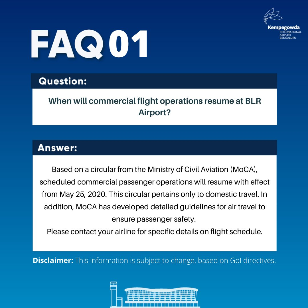 Blr Airport على تويتر Domestic Commercial Flight Operations Resume At Blrairport On May 25 2020 With This Series Of Faqs Blr Airport Seeks To Address Concerns Raised By Passengers Parents And Travelers