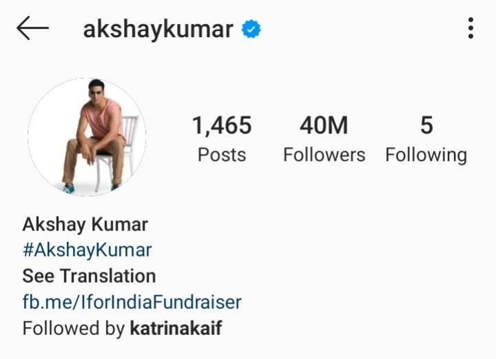 """Akshay Kumar completes 40M followers on Instagram and becomes most followed male actor   Akshay Kumar is also the most Followed """" ACTOR """" of India on social media with 102.5M+ followers   #Instagram : 40M  #Twitter : 36.3M  #Facebook : 26.1Mpic.twitter.com/YaHEy0Fbnf"""