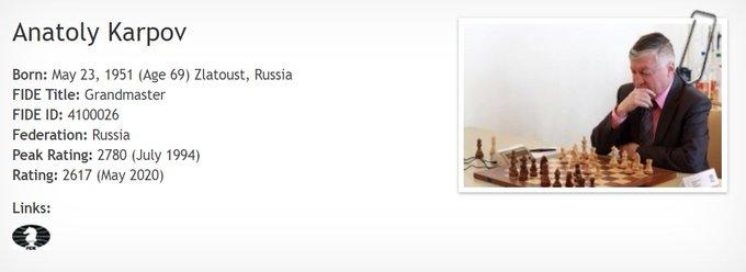 Happy 69th Birthday to the 12th World Chess Champion Anatoly Karpov!