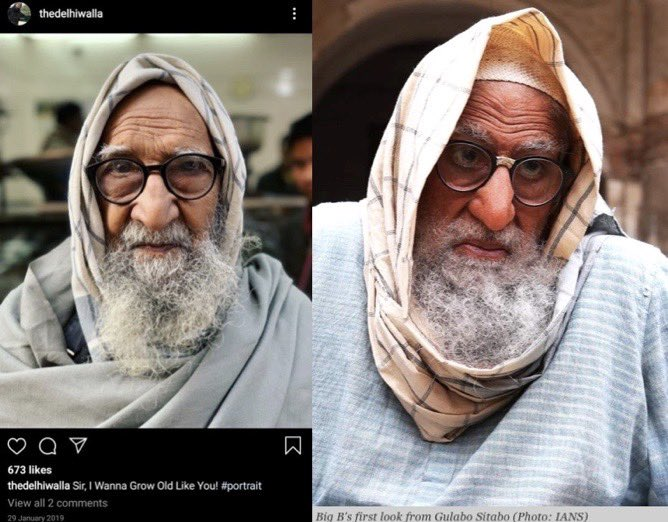 "OH DAMN! Actor Amitabh Bachchan's ""first look"" from the forthcoming movie Gulabo Sitabo is exactly the replica of an Old Delhi man whose portrait I clicked and posted on my Insta in Jan last year—down to his scarf, beard, glasses! My portrait inspired banker..see next tweet! https://t.co/DhVh2vU35L"