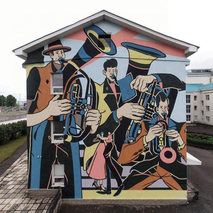 """Musical wall""  #StreetArt by Roman Muratkin In Neftekamsk #Russian pic.twitter.com/0DQjz7VEJC"