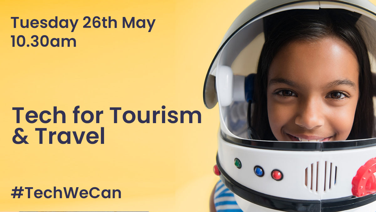 With many bank holiday travel plans cancelled this weekend, we're here to show kids how #tech can transport you out of your home and into space! Join our next #TechWeCan online lesson with @KKing_5 to discover how tech is being used in tourism & travel https://t.co/7ktnnRPUoi https://t.co/4w3M5anSB0